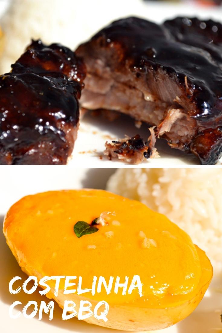 Receita de Costelinha com Molho Barbecue e Batatas com Cheddar