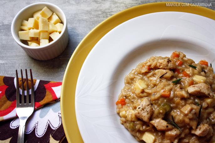 Risoto de frango com queijo coalho