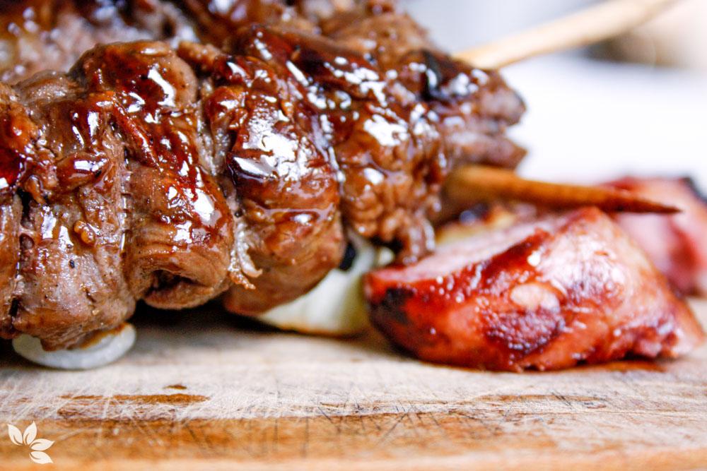 Receita de Espetinho de Carne com Molho Teriyaki