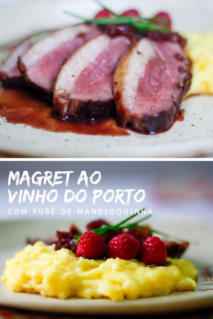 Receita de Magret de Pato ao Vinho do Porto e Framboesas com Purê de Mandioquinha com Queijo de Cabra.