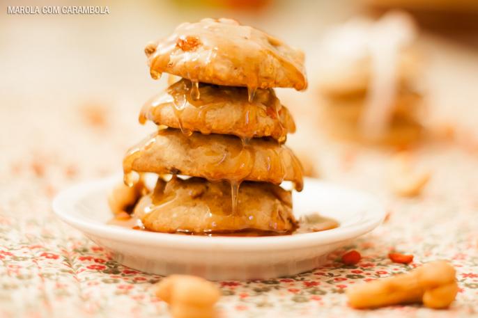 Receita de cookie de goji berry com blueberry e castanhas de caju