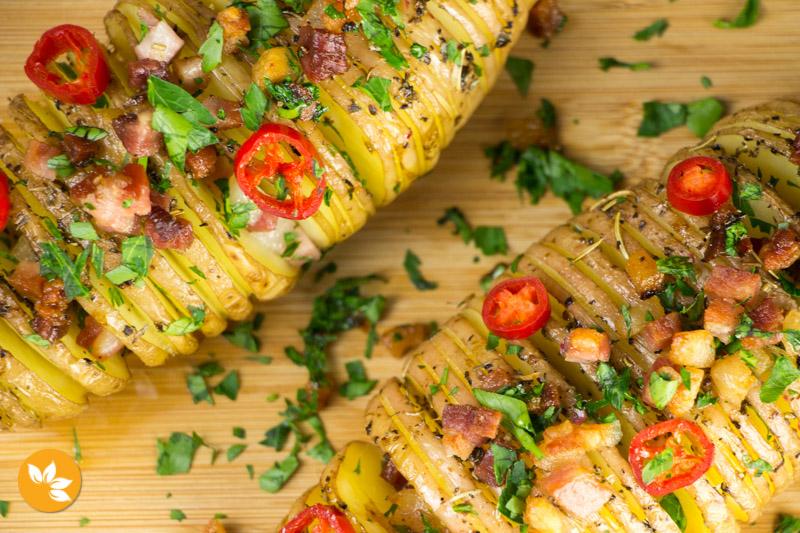 Como Fazer Batata Hasselback com bacon