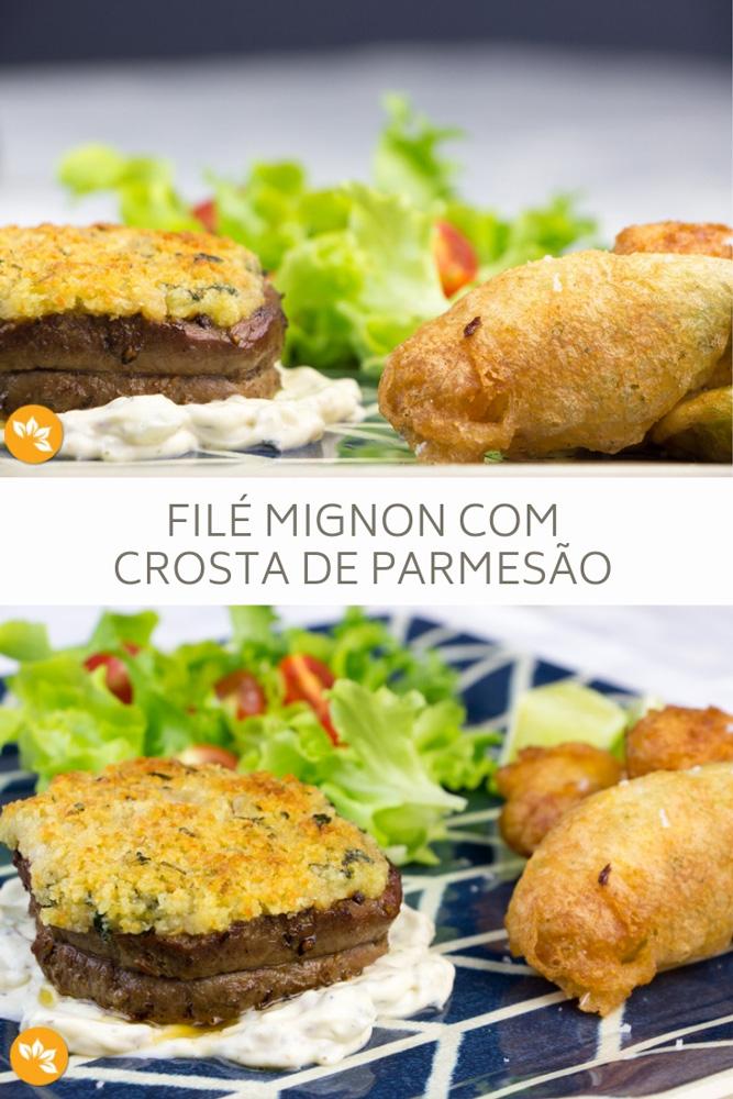 Receita de Filé Mignon com Crosta de Parmesão e Flores de Abobrinha Recheadas