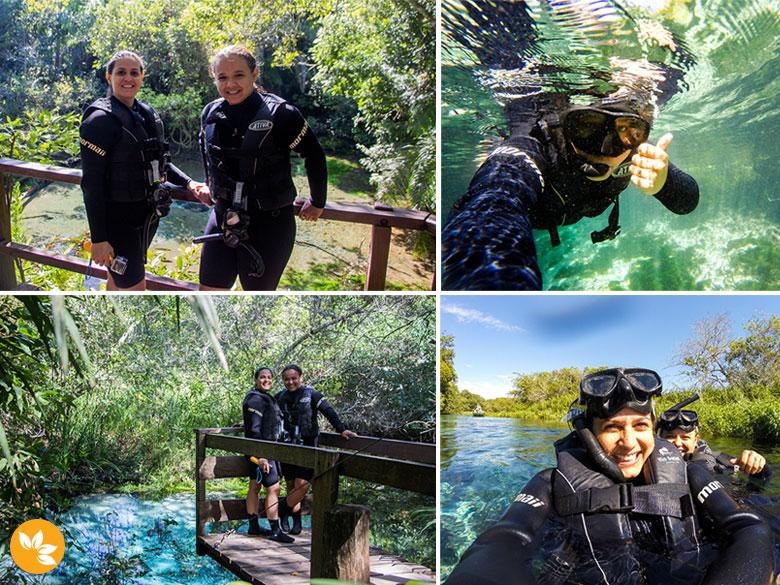 Eloah e Amanda na Flutuação no Rio Sucuri
