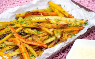 Receita de Palitos de legumes assados