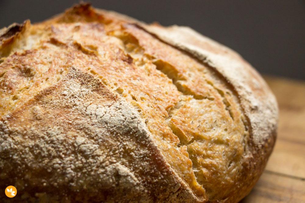 Pão Rústico sem sova com fermentação natural - levain