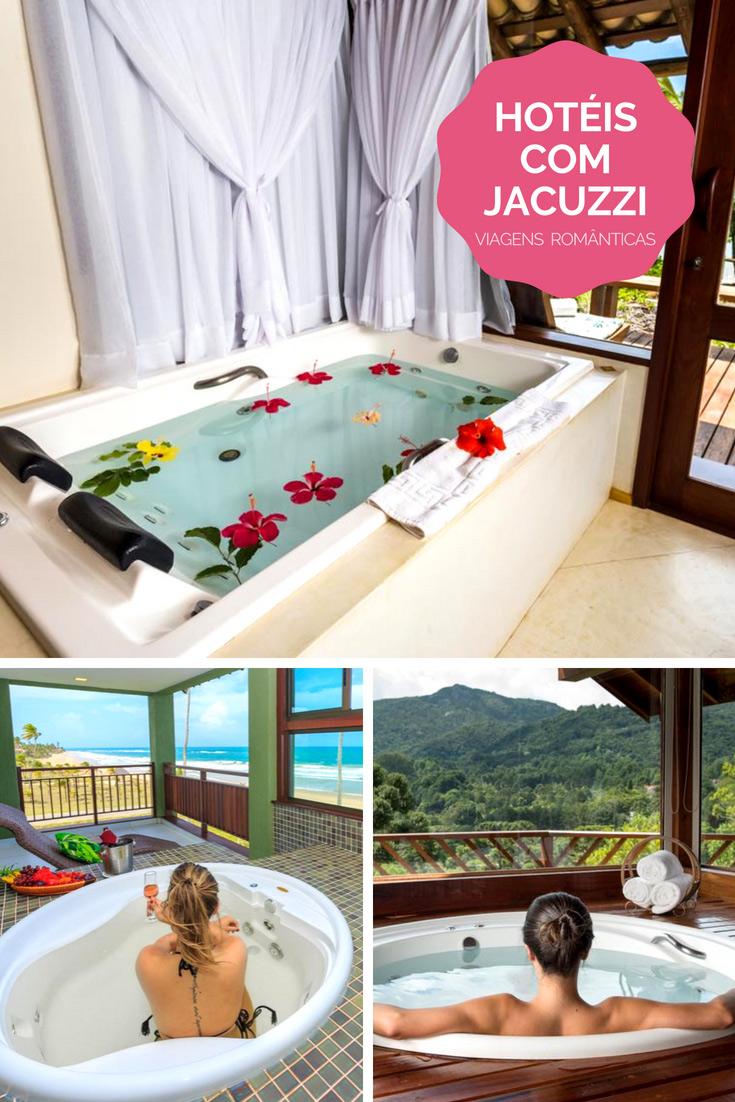 Os melhores hotéis com jacuzzi no quarto e com toque romântico para uma viagem romântica. Todos hotéis em incríveis destinos do Brasil.