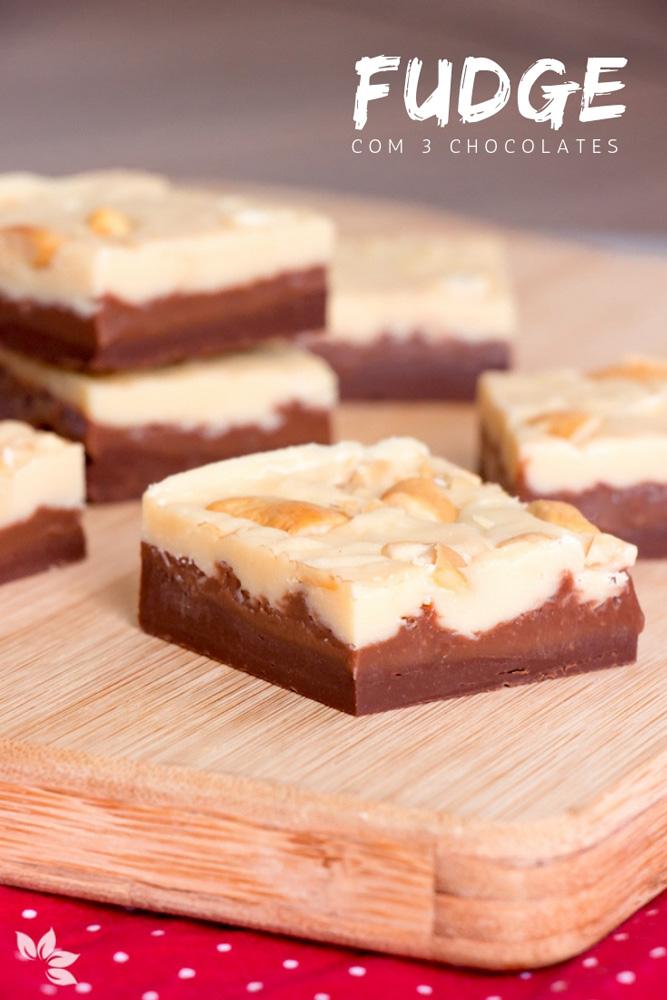 Receita fácil de fudge de chocolate com três chocolates.
