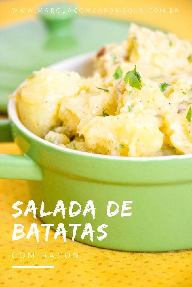 Receita de salada de batata com bacon.