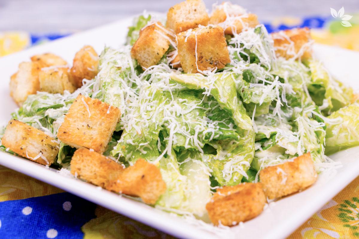 Receitas de Saladas - Receita de Salada Caesar - Caesar Salad - Molho Caesar