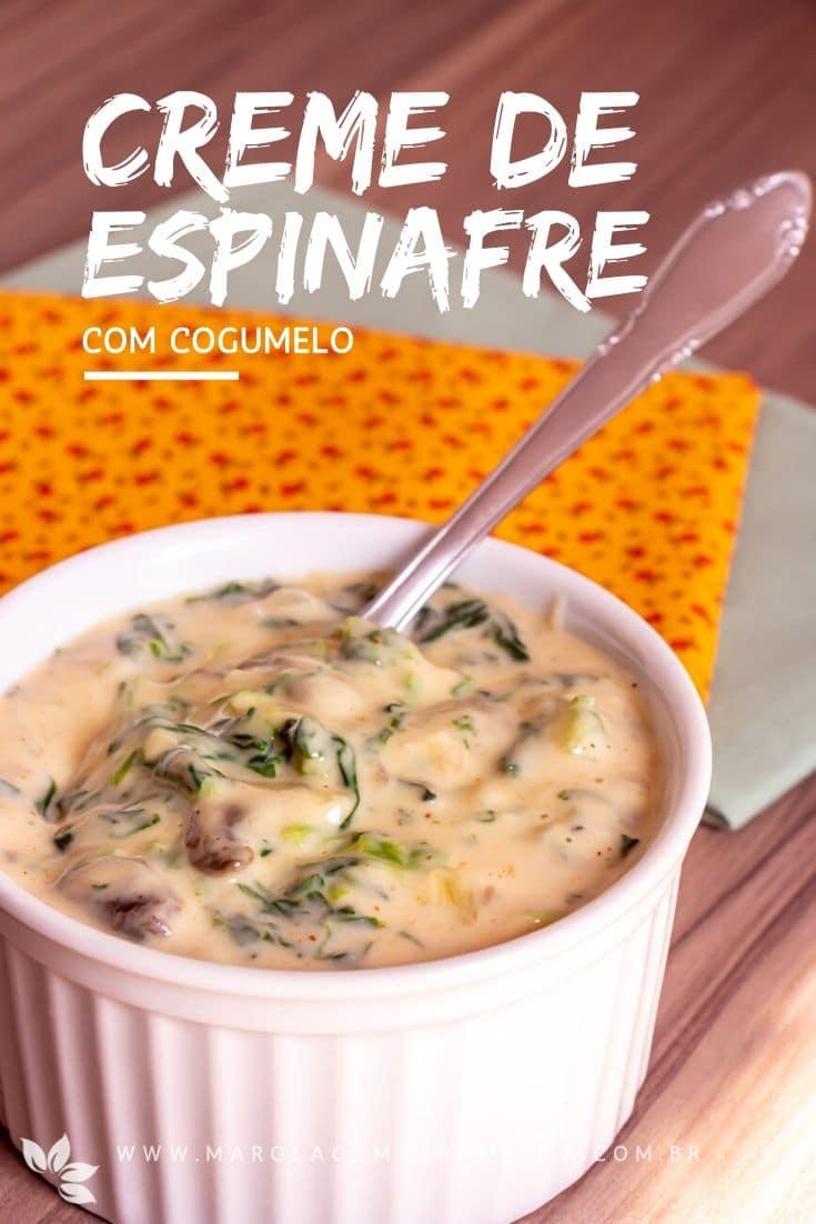 Receita de Creme de Espinafre com Cogumelos