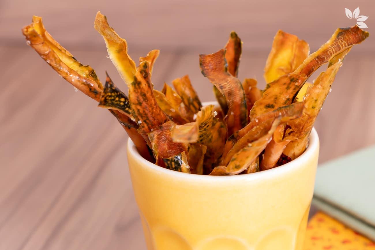 Receita de chips de casca de abóbora