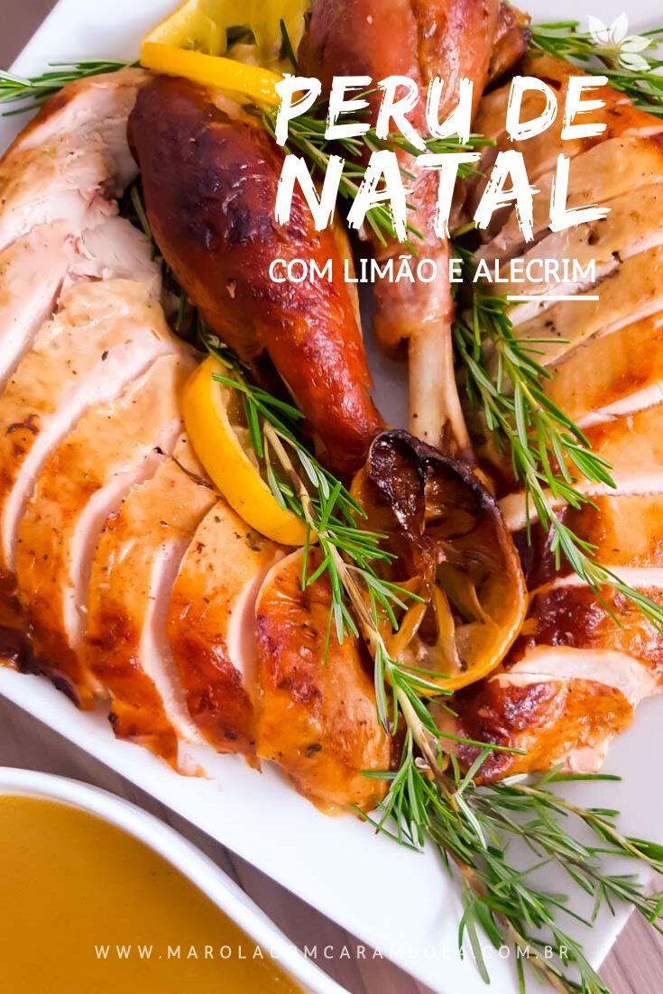 Receita de Peru de Natal com limão siciliano, alho e alecrim