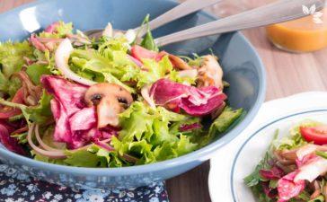 Receita de Salada de Folhas com Cogumelos