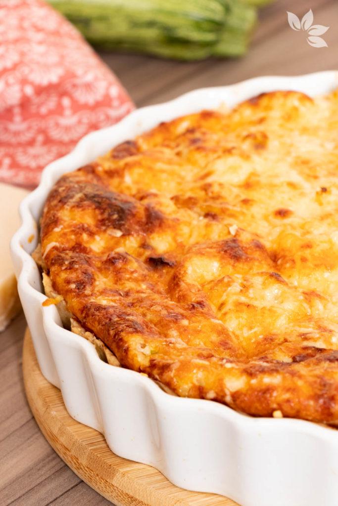 Receita de Torta de Couve Flor com Abobrinha e Grana Padano - Torta vegetariana